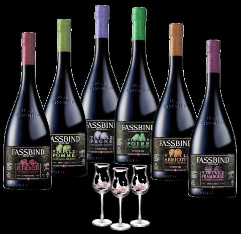 Fassbind Vieille Barrique Probierpaket 6 Flaschen 3 Gläser